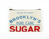 Screen printed canvas zipper pouch - Sugar sack - Made in Brooklyn, NY