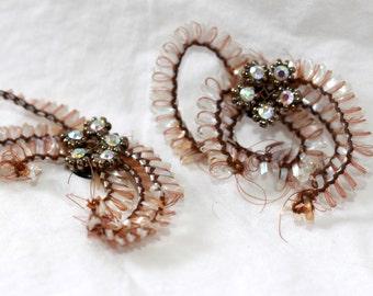 "Vintage Odd Beaded Rhinestone Bendable Victorian Embellishments (2) 2""x1.5"""