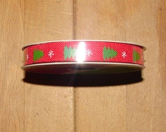 FREE SHIP! Red with Green Christmas Trees Ribbon - 3/8 inch X 3 Yards
