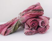 35x35 variegated playsilk - natural play silk scarf - hand-dyed - ROSE GARDEN
