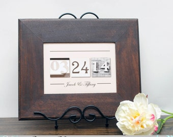 Couples gift , New home gift , Newlywed Gift , Wedding Date Gift , Anniversary , Frame Your Date , Save the Date , BROWN FRAME