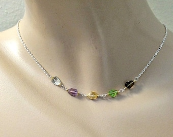 MOTHERS DAY SALE Pastel Gemstone Necklace Dainty Gemstone Choker Delicate Layering Necklace Sterling Silver 14k Gold Fill Chain Multicolor J