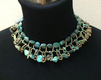 50% OFF SALE Boho Chic Turquoise Statement Necklace Woven Handmade Bold Turquoise Necklace Luxury Fashion Bohemian Jewelry