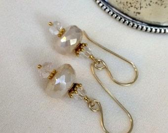 Dainty Ivory Cream Earrings, Pearlized Chalcedony Clear Crystal Drop Earrings, Petite Ivory Dangle Earrings, Wedding Earring, Bridal Jewelry