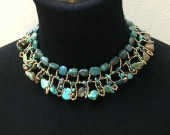 Boho Chic Turquoise Statement Necklace Woven Handmade Bold Turquoise Necklace Luxury Fashion Bohemian Jewelry