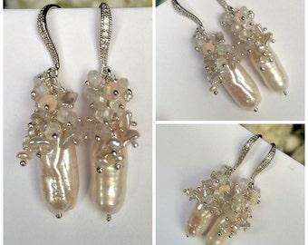 Wedding Biwa Pearl Earrings Wire Wrap Keishi Ethiopian Opal Cluster Earring Sterling Silver or Gold Vermeil Boho Beach Bride Earrings