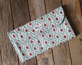 Red and Aqua Diaper Clutch with Changing Pad - Gray - Grey - Geometric - Tribal - Modern -  Baby Shower Gift - Boy - Girl - New Mom Gift