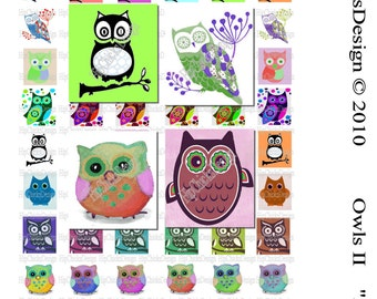INSTANT DOWNLOAD - Owls 2-  Scrabble .75 x .83 Collage Sheet - Digital Collage Sheet