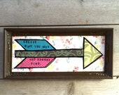 Create arrow vintage thrift frame mixed-media original collage art