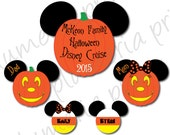 Family Halloween Mouse Head Magnet Set for Cabin Stateroom Door - Pumpkin Mickey Mouse and Candy Corn Heads