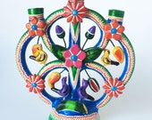 TREE Of LIFE CANDELABRA Mexico Vintage Birds Floral Dangling Fruit Colorful Folk Art Mexican Pottery Hand Made