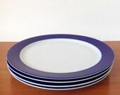 Vintage Thomas Germany Plates, Mid Century Modern Brushed Cobalt Blue, Set of Four Dinner Dishes
