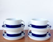 Vintage Thomas Germany Flat Cream Soup Bowl & Saucer, Mid Century Modern Brushed Cobalt Blue, Set of Four