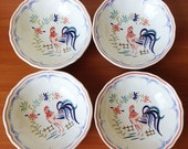 Vintage Coupe Cereal Bowls in Chanticleer by Longchamp, French Rooster Serving Set of Four