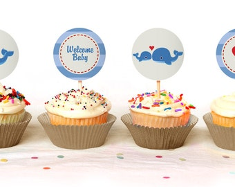Sweet Whale Themed Baby Shower Cupcake Toppers - Instant Download - Print Your Own - BAB26_CT