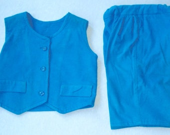 12 Month Boy Corduroy Vest, Long Pants, Turquoise
