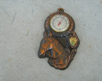 1960s souvenir copper finish metal Tennessee  horse thermometer
