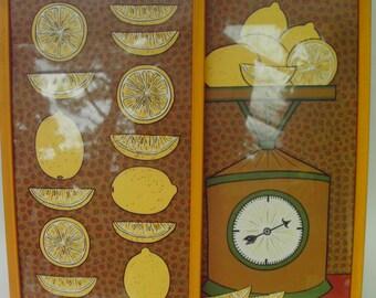 Two Vintage Lemon Prints by T. Maness Retro Kitchen Decor