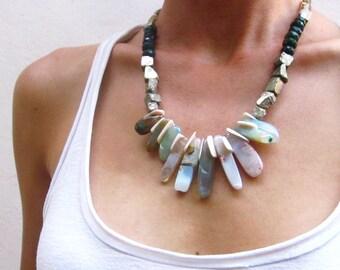 Stone statement necklace, pyrite agate gold line quartz jade necklace, chunky bib necklace, raw stone necklace, tribal necklace bohemian
