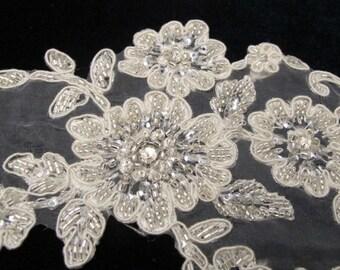 Venice Ivory Lace Beaded Appliques  for garter, bridal dress,veil, headband, hair piece, straps