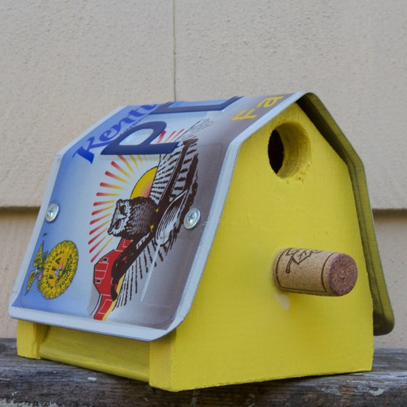 Upcycled Kentucky License Plate Bird House Nest Box For Black-capped Chickadees or Carolina Wrens gardening nest gift for your birder friend
