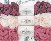 Seam Binding, Scrunched Shabby Ribbon, Crinkled Ribbon, Burgundy, Cream, Dusty Pink,French Vintage, Scrapbooking,Crazy Quilting,Antique Lace