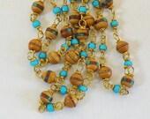 SALE Prayer Beads, Tibetan Inlaid, Prayer Bead Necklace, Wrapped Bracelet, Vintage Prayer Beads, Tibetan Wood Beads, Inlaid Bead, Heart Bead