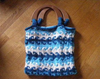 Knitted Sea Waves Tote Bag