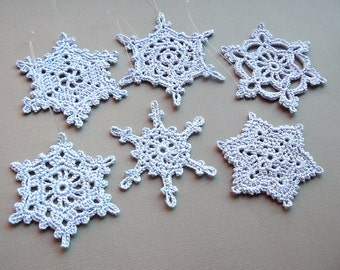6 Crochet Snowflakes -- Large Snowflake Assortment BB3, in Pale Blue