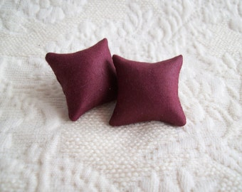"Wine pillow pair, hand made of silk, 1 1/8"" square,"
