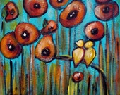 Birds Painting Red poppies Original Oil Painting Whimsical Canvas ready to display