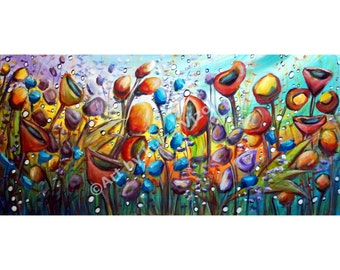 Large Abstract Boho Flowers Painting Poppy Whimsical Garden Art by Luiza Vizoli 42x