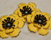 Sunny Yellow with White Polka-Dotted Anemone Flowers-Set of 3-Black and Yellow