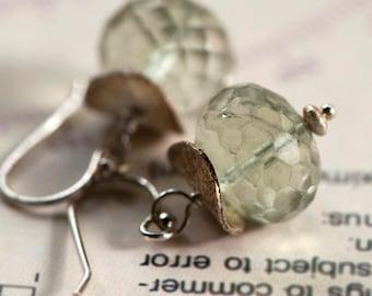 Green Amethyst Earrings, Mint Green and Silver Drops
