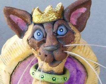 Siamese Cat Queen on Purple Throne Whimsical Ceramic Sculpture