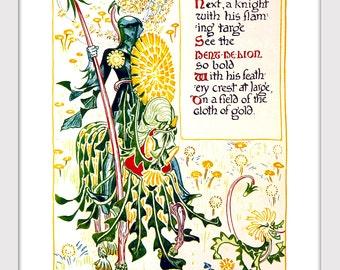 Nursery Decor, Floral Fantasy, Knight in Armor, Armour, Victorian Print, Wall Art, Nursery Cartoon, Cute Decor, Giclee Print, Storybook Art