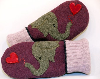 Eco Friendly Wool Sweater Mittens Felted Beige Lilac Grey and Red Elephant Applique Fleece Lining Leather Palm Upcycled Size M/L