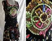 reserved for Jena Vintage 50s 60s Velvet Handpainted Dress Top Skirt Set with Sequins Flower theme Size M Mexican ethnic Circle Skirt