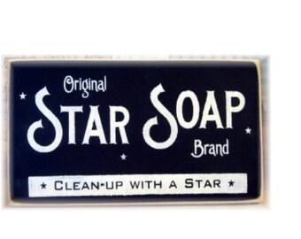 Star Soap primitive wood sign