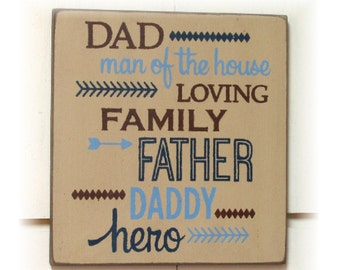 Dad man of the house typography wood sign