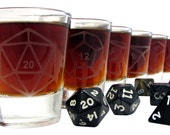 Dice Gamer Polyhedral Etched Glassware (Small) -Shots -Juice Glasses -Red Wine Glasses -White Wine Glasses (Stemless)