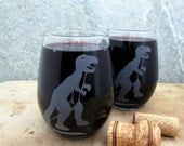T-Rex Dinosaur Etched Glassware (Small) -Shots -Juice Glasses -Red Wine Glasses -White Wine Glasses (Stemless)