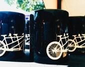 Bicycle Two Seater Etched Glassware (Large) -Tumblers  -Old Fashioned -Can Glasses -Mason Mugs -Ceramic Mugs -Pints Sandblasted