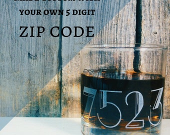 Zip Code Etched Old Fashioned | Scotch | Rocks Glass - Housewarming - Closing Gift - Wedding