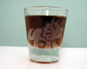 Triceratops Dinosaur | Etched Whiskey Shot Glass | Dinosaur Party | Dinosaur Gift | Science Gift