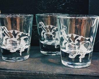 Velociraptor Dinosaur | Raptor | Etched Custom Shot Glass | Dinosaur Gift | Dinosaur Birthday | Whiskey Shot |