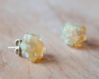 Glass Cluster Dot Earrings - Yellow Pearl