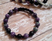 Aromatherapy Diffuser Bracelet in Purple and Black