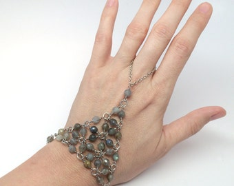 Labradorite Beadmail Slave Bracelet - Labradorite Beads on Brushed Silver Wire with Silver Chain