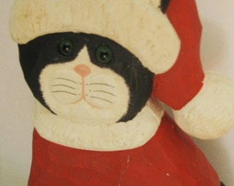 Vintage Hand Made Wooden Santa Cat, Signed Piece, Glass Eyes, Black and White Cat
